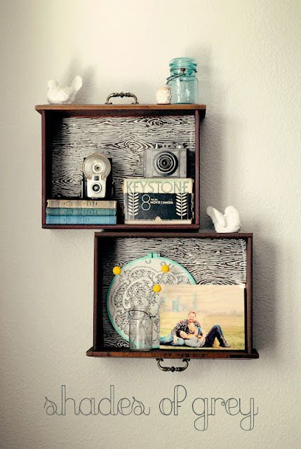 drawer shelves as wall decor.