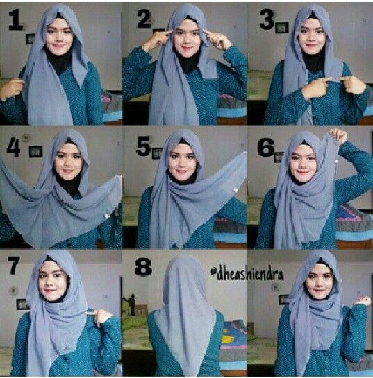 @hijabtutorial.  1. Taruh hijab paris yang sudah dilipat dua tidak sama panjang 2. Pentul kedua sisinya 3. Sisi kiri yang pendek di peniti 4. Buka kedua sisi lapisan sebelah kanan 5. Ambil lapisan yang dalam 6. Taruh diatas kepala lalu pentul 7. Pentul atau peniti di bahu 8. Tampak belakang