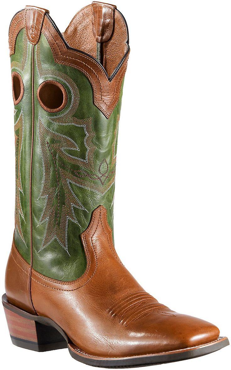 Ariat Wildstock Men's Barnwood w/Green Top Double Welt Square Toe Western Boots