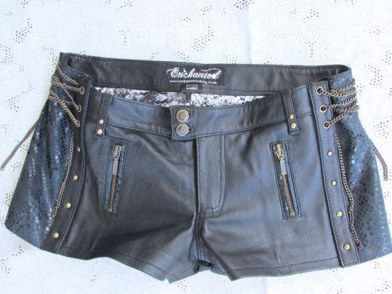 Black leather steampunk shorts biker leather by EnchantedClothing