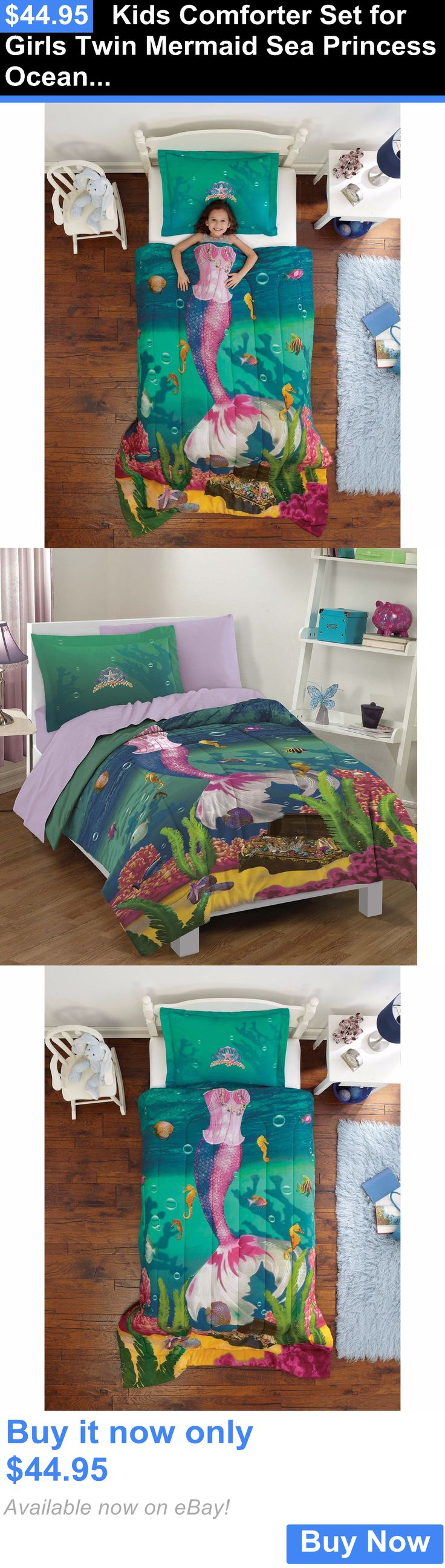 Kids Bedding: Kids Comforter Set For Girls Twin Mermaid Sea Princess Ocean Bed Bedding Sham BUY IT NOW ONLY: $44.95