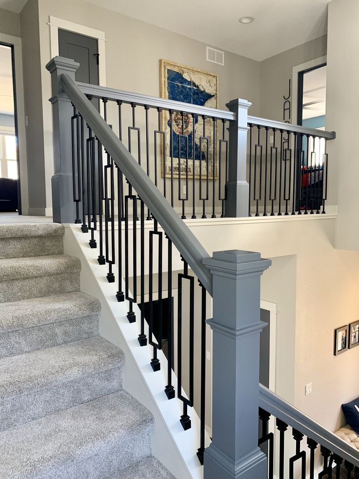 Black iron staircase and spindles, Sherwin Williams Repose ...