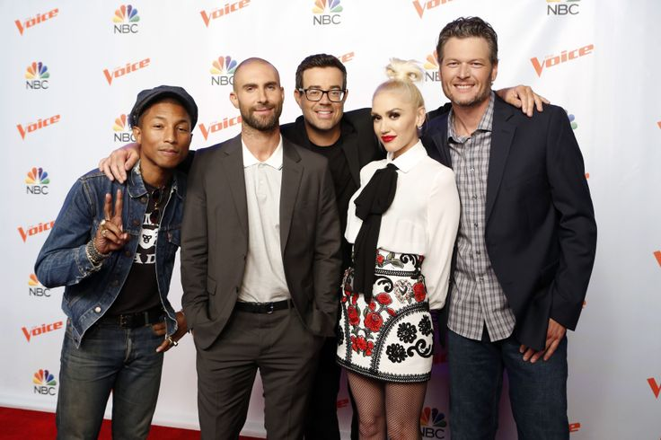 THE VOICE -- 'Season 9 Press Junket' -- Pictured: (l-r) Pharrell Williams, Adam Levine, Carson Daly, Gwen Stefani, Blake Shelton -- (Photo by: Trae Patton/NBC/NBCU Photo Bank via Getty Images) via @AOL_Lifestyle Read more: http://www.aol.com/article/2015/11/17/blake-shelton-makes-gwen-stefani-blush-over-booty-call-remark/21267385/?a_dgi=aolshare_pinterest#slide=3687869