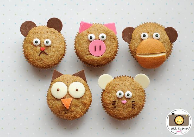 Breakfast muffins--apple cinnamon recipe plus tutorial on how to make the animal faces.