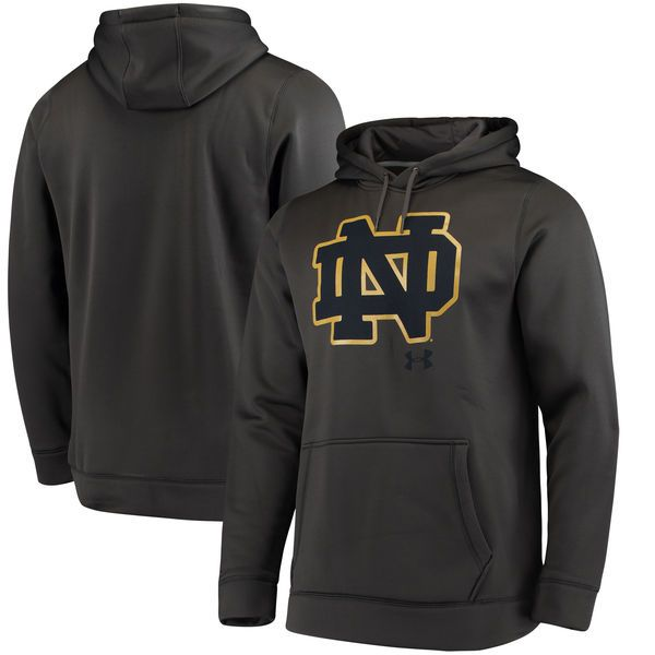 Notre Dame Fighting Irish Under Armour Big Logo Storm Performance Pullover Hoodie - Charcoal - $74.99