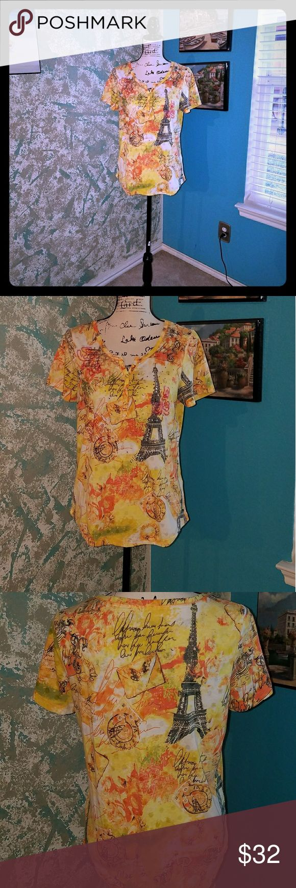 ONQUE PETITE TOP Beautiful beaded yellow/orange and brown short sleeve top NWOT Onque Petite Tops
