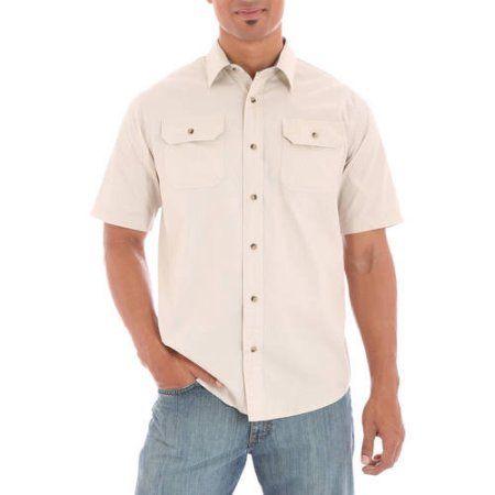 Wrangler Big Men's Short Sleeve Shirt with Pencil Pocket, Size: 2XL, Clear