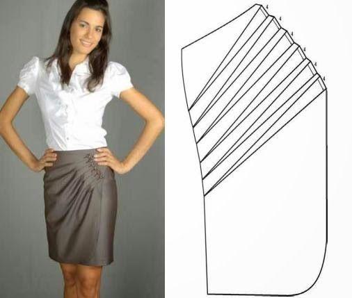 rajout d'un rabat plissé sur une jupe droite