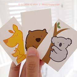 Three free printable Australian Animals Flashcards: Koala, Kangaroo and Wombat!