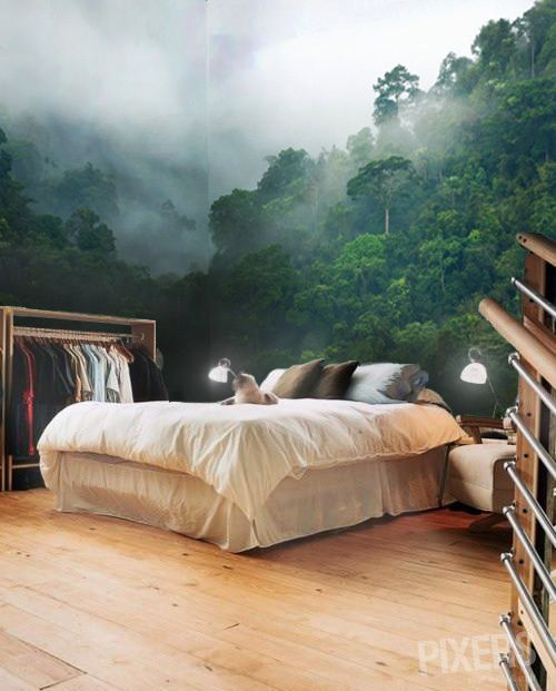 Forest landscape wall mural | #bedroom . decoration . wood . green .