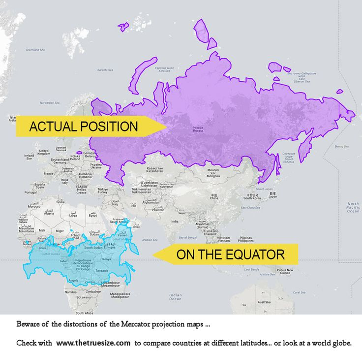 Russia vs Africa  Beware of the distortions in the Mercator projections maps ... Compare sizes at different latitudes with www.thetruesize.com ... or lokk at a worl globe