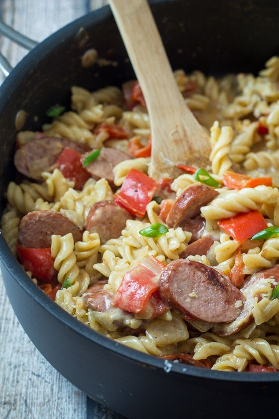 Sausage and Pepper One Pan Pasta Skillet - The Wanderlust Kitchen - no need to pre-cook pasta