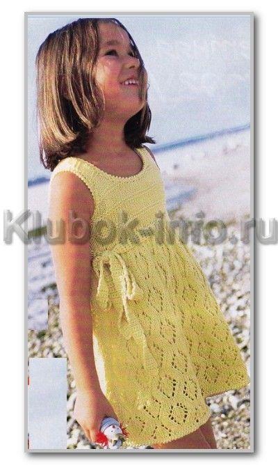 Вязание спицами. Летнее платье с ажурной юбкой для девочки 3-5 лет