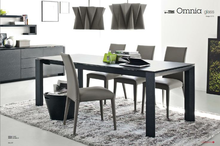 Calligaris Omnia extendable glass table. Acid etched black with graphite legs. www.softsquare.com