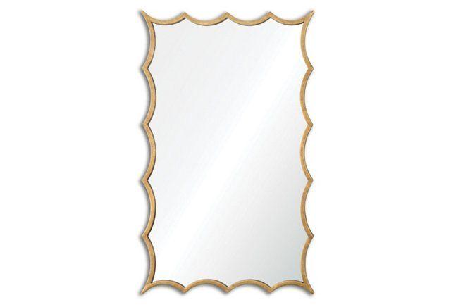 "24""x39"" Midcentury Mirror, Gold"