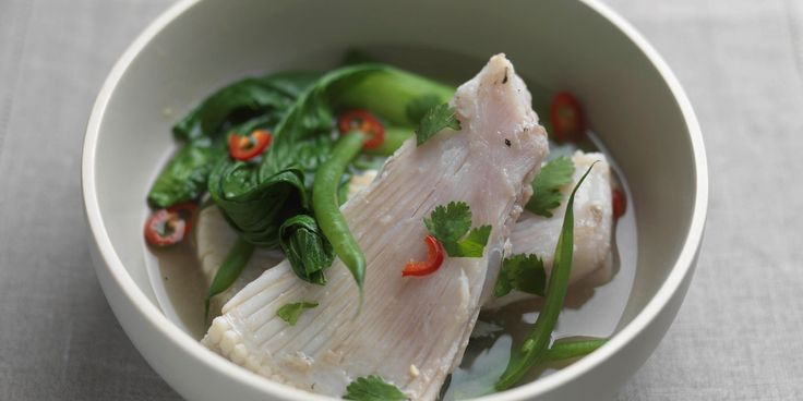 This elegant recipe is a beautiful way to prepare skate wings that takes no time at all. Skate wing is simmered in miso soup with chilli, ginger and coriander
