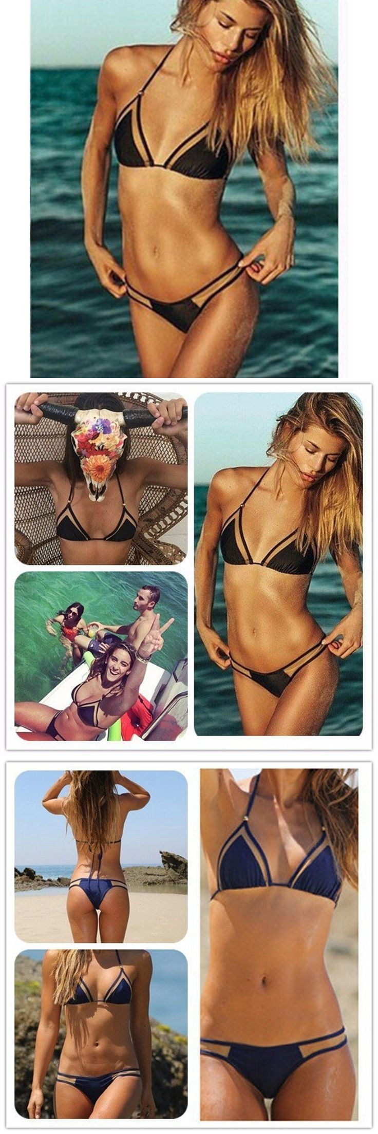 2017 summer brazilian plus size string bikini triangle bikini set sexy  bandage push up swimsuit beach women's swimwear bikini