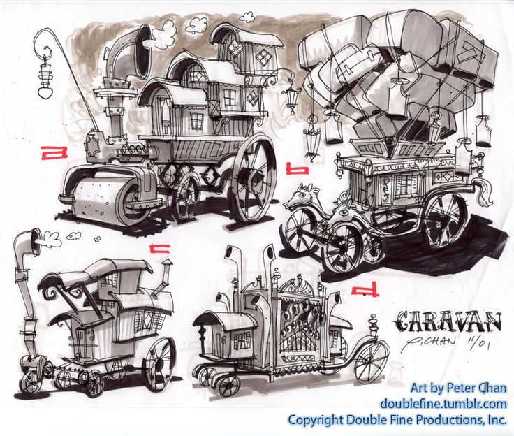 Character Design Environment : Psychonauts the meat circus caravan concept art by