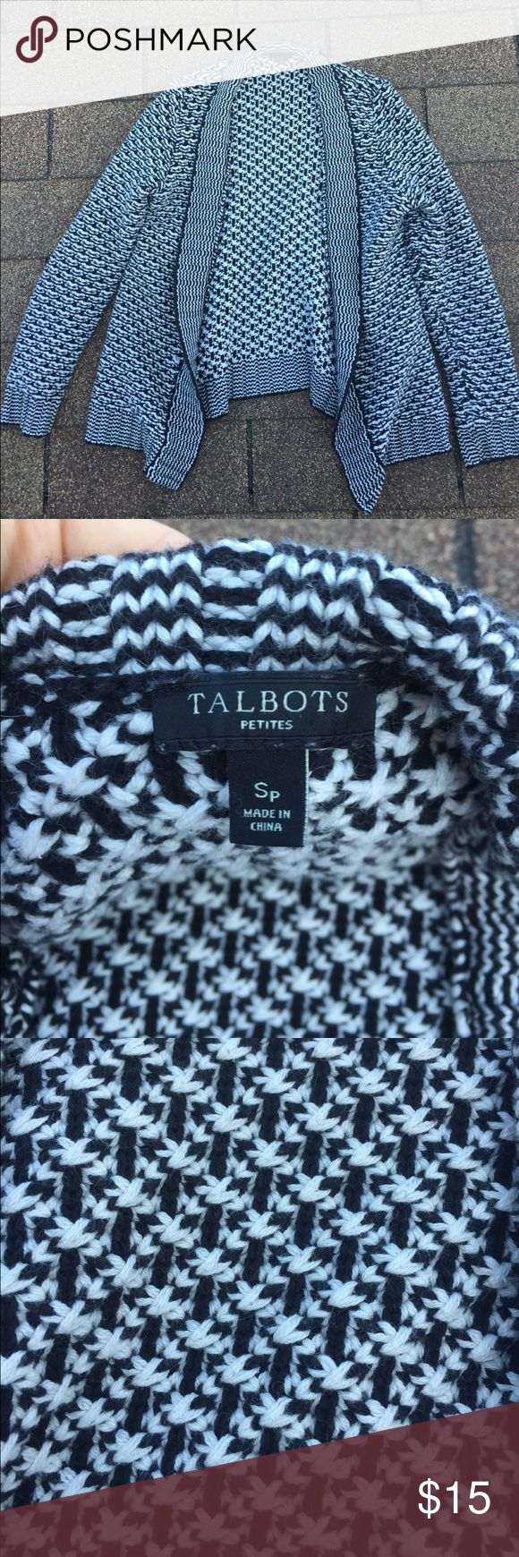 Talbot's Petite Sweater Cardigan Adorable black and white sweater cardigan by Talbots. Petite Small. Great condition. Gently worn. Smoke-free home. Talbots Sweaters Cardigans