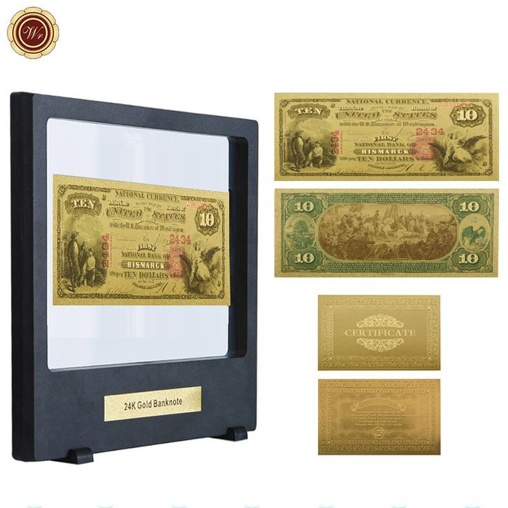 Promo Wr Wholesale Gift Items 10 Dollar 24K Gold Banknote American 1875 Year Currency Bill Note #Wholesale #Gift #Boxes