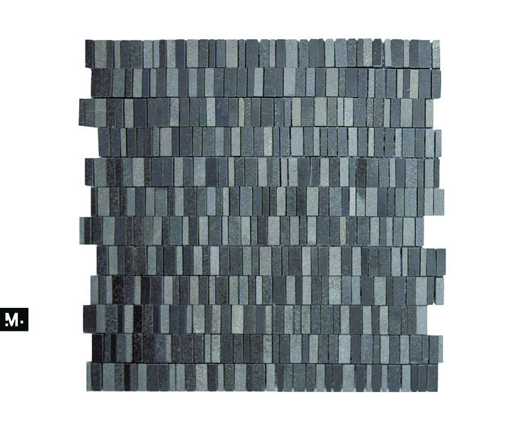 MUDTILE floor or wall mosaic tile / pattern name: Gravel / color: Coal mix (blacks) / 12 x 12 in / Distributed by ciot.com (Canada) stonesource.com (USA) mudtile.com