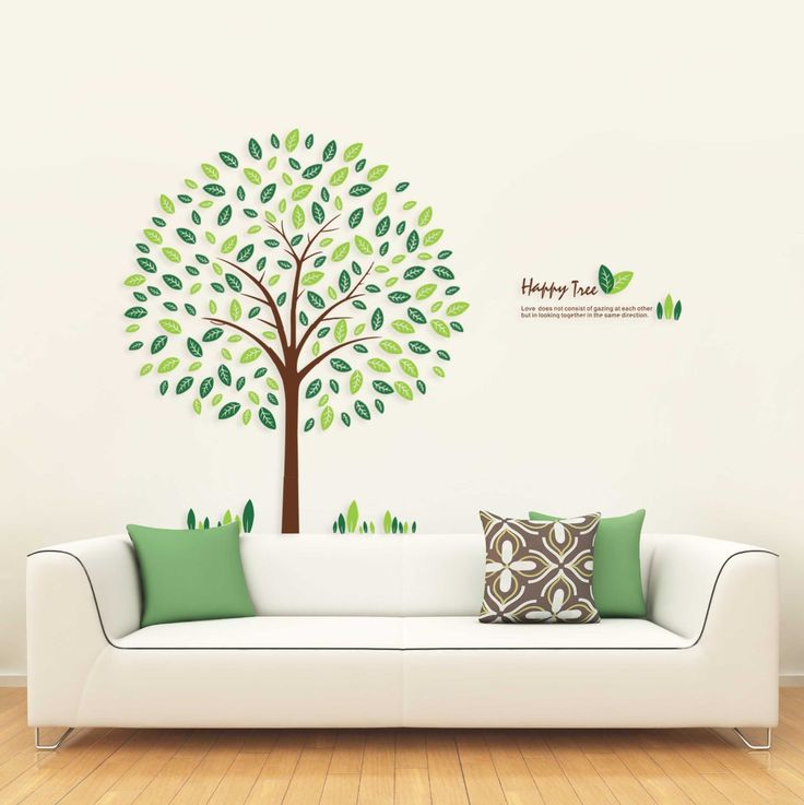 Wall decals yyone happy round tree 130cm tall wall sticker living room decoration