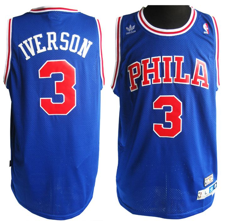 ... L Reebok NBA Sixers 3 Allen Iverson Blue Jerseys 72237d0d7
