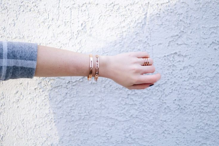 Rose Gold Bangles and Ring by @thepeachbox