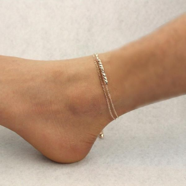 Simple Temperament Anklet Double Bells Beads Bead Chain Anklet Jewelry-860422