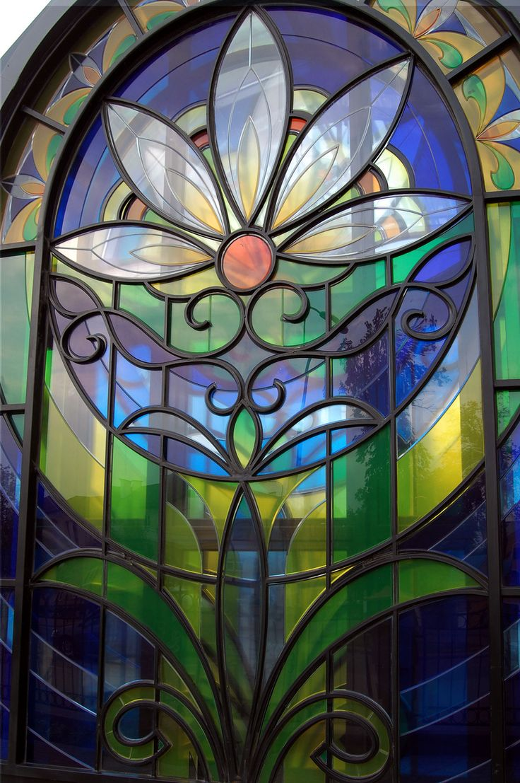 Beach theme decoration stained glass window panels arts crafts - Beautiful Floral Stained Glass Window In Russia 3