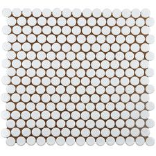 """Penny 0.8"""" x 0.8"""" Porcelain Mosaic Tile in White"""