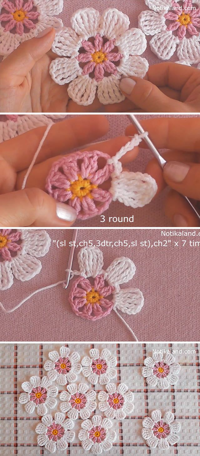Learn Making Lace Crochet Flower Easily
