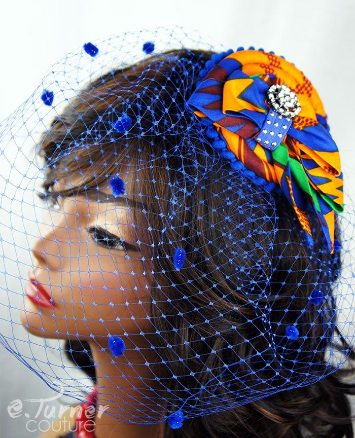 Blue African Kente Print Fascinator - Ghana Wedding - African Headpiece - Ankara fascinator Hat -