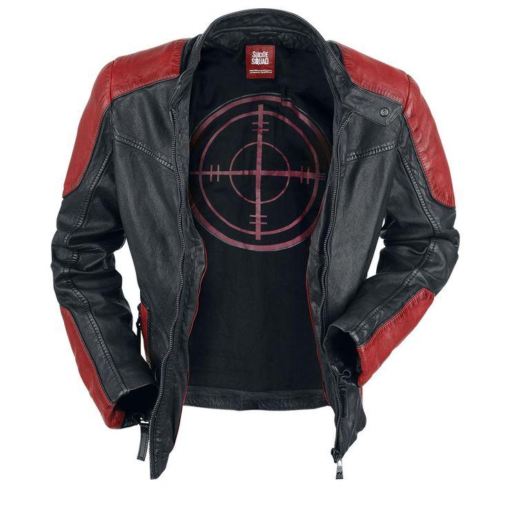 Suicide Squad - Deadshot  - lederen jas met bikerlook - kraag met drukknoop - met rits - twee zakken met rits - met rode patches op de schouder en de mouwzomen - mouwzomen met rits - met bedrukte binnenkant - met drie binnenzakken, waarvan één met rits, één met klittenbandsluiting en één geborduurd