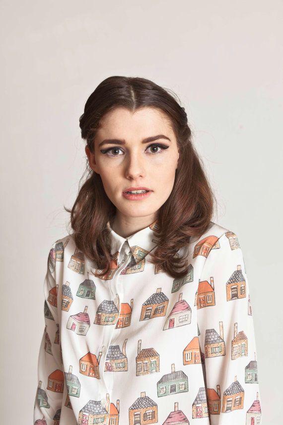 cute! hand printed house shirt