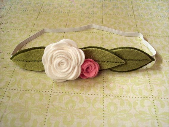 Felt Rose Headband with Leaves in white pink by pixieandpenelope, $8.00