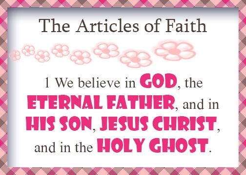 Primary - Articles of Faith Cards (first article)