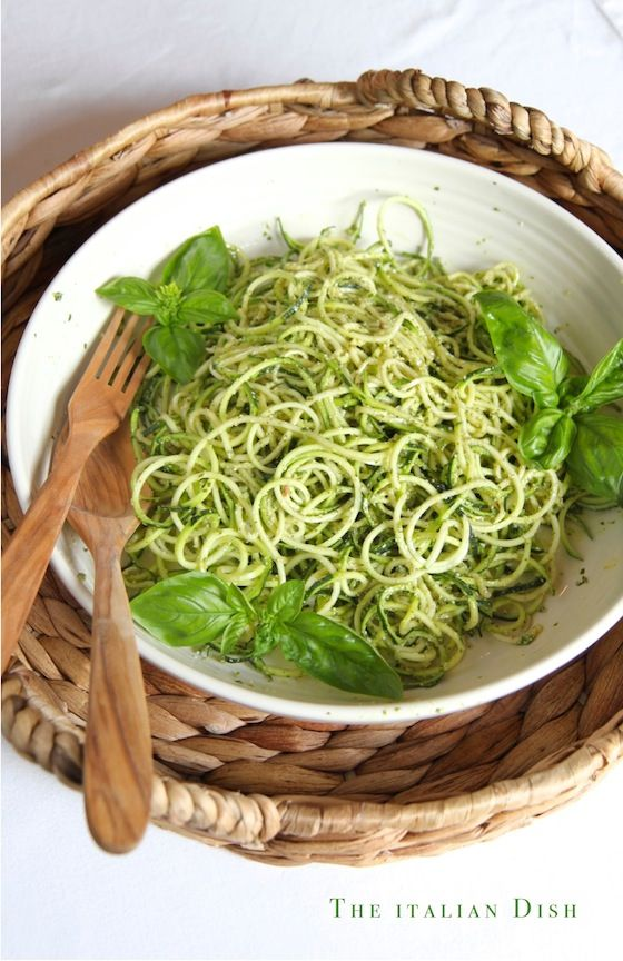 Spiralized Zucchini Noodles with Basil Pesto