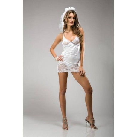 This beautiful white night dress is designed to wear during the wedding night. The upper part is made of lace making the breasts are emphasized.  The middle portion of the dress is made of a super smooth soft fabric.  The lower band of the dress is lace. The back can be adjusted by the threaded ribbon.  There will be a small veil with ribbon supplied where a hair clip ride making it easy to attach to the hair.  Also get a smooth white thong included.