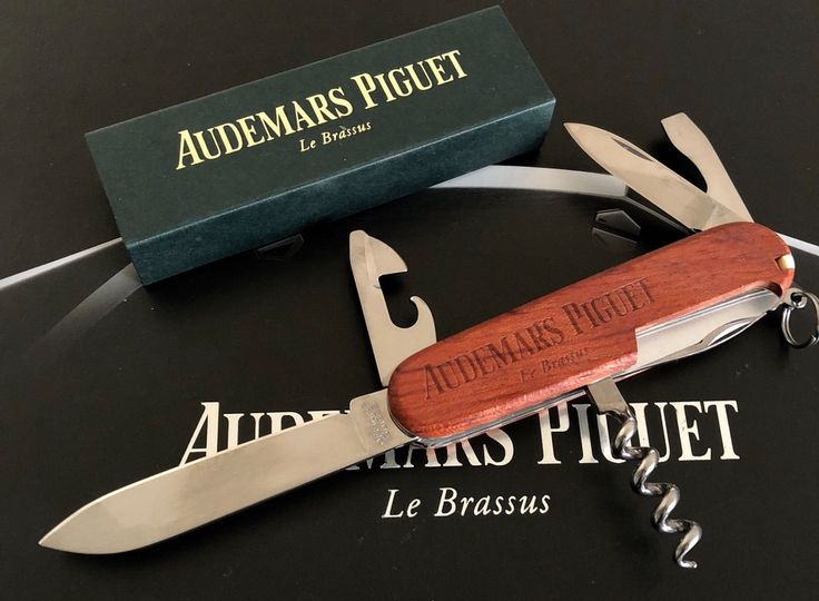 Audemars Piguet Luxury Wood Swiss Army Pocket Knife Rare and Collectible