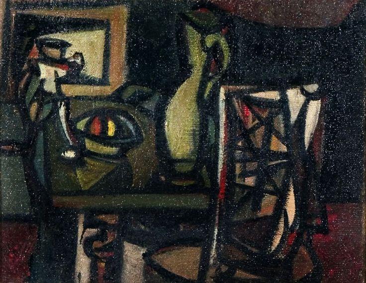 Hložník Vincent – Zátišie, 1947, olejomaľba, plátno, 56x70,5cm | Galéria Jána Koniarka v Trnave