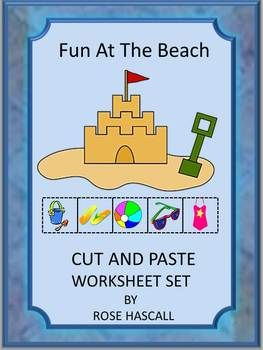 Fun At The Beach Cut and Paste Worksheets for pre-K.K and Special Education. Nothing is better on a hot summer day, then a trip to the beach. It is so much fun to build sand castles and to cool down playing in the water. Children can continue that fun with this Fun At The Beach Cut and Paste worksheet set without the need for sunscreen.