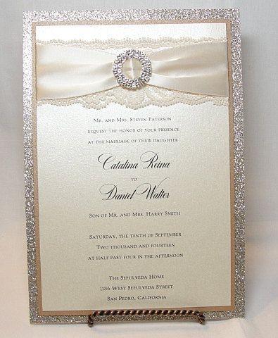 COCO-2  Glitter and Lace Wedding Invitations via Etsy
