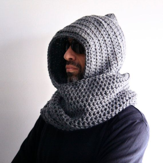 Mens hood scarf mens infinity scarf mens winter hood by polixeni19