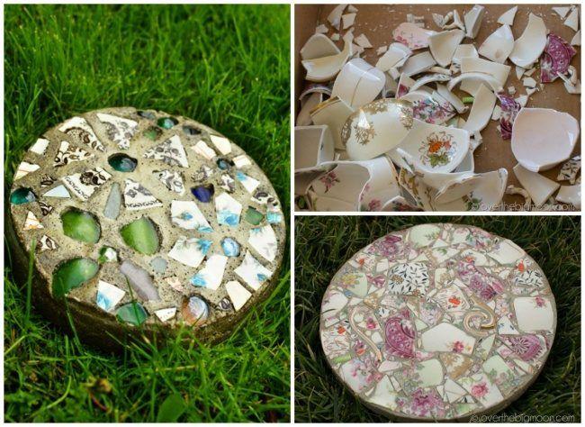 Как превратить сад в райский уголок. Плитки для дорожки или просто оригинальный садовый декор из битого стекла и черепков.