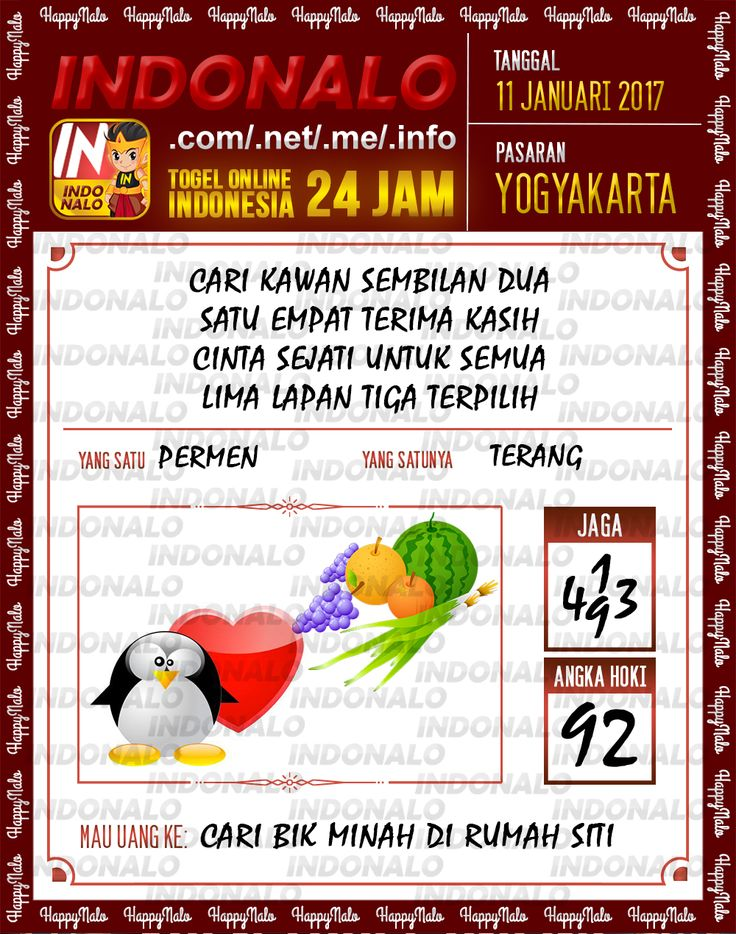 Kode Kumat 3D Togel Wap Online Live Draw 4D Indonalo Yogyakarta 11 Januari 2017