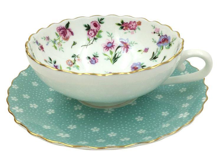 Amazon.com | Jsaron Vintage Blue Flower Tea Coffee Cup with Spoon and Saucer Set Coffee Mug: Tea Sets