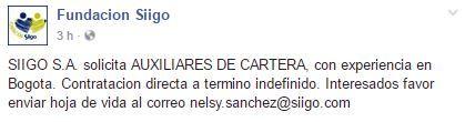 Fundacion Siigo SIIGO S.A. solicita AUXILIARES DE CARTERA, : correo nelsy.sanchez@siigo.com