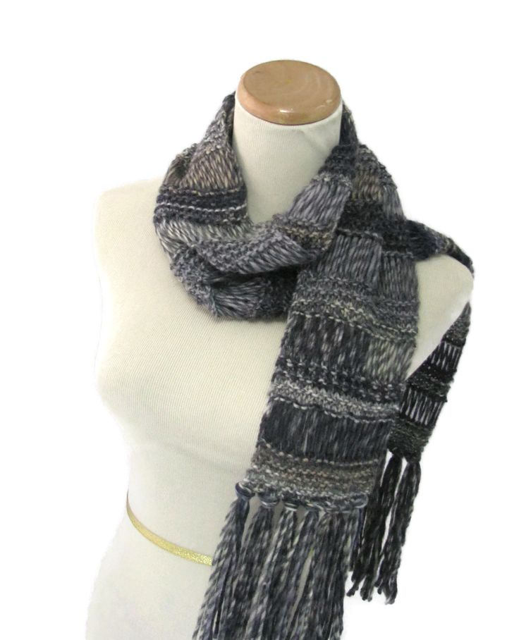Hand Knit Scarf, OOAK, Knit Scarf, Gray Scarf, Fashion Scarf, Winter Scarf, Women Scarf, Fiber Art, Gift Ideas, - pinned by pin4etsy.com