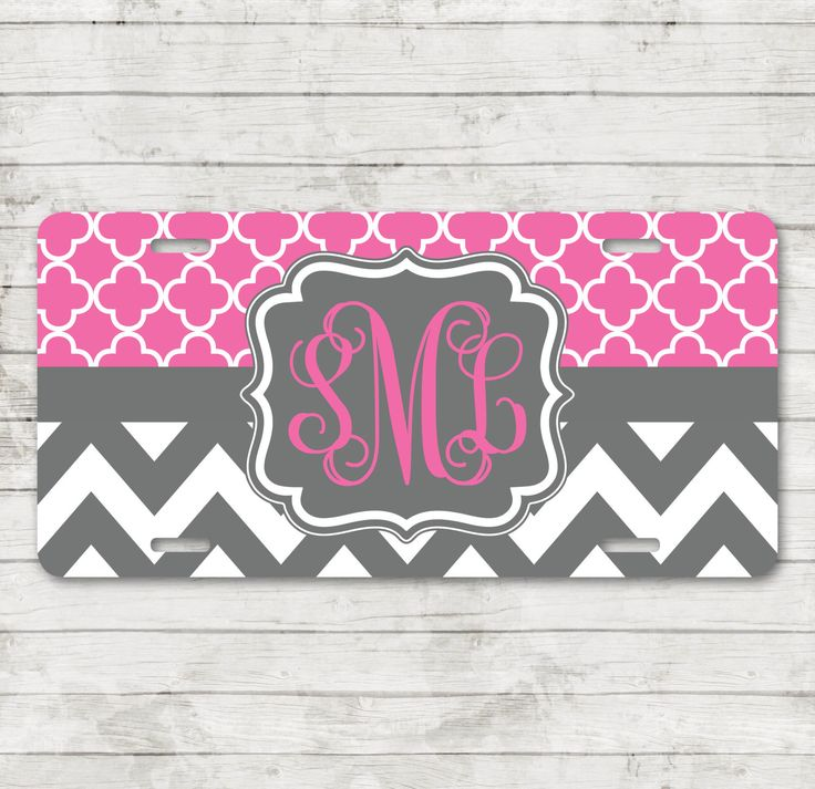 Monogrammed Car Tag for Front of Car Personalized License Plate Monogrammed Gifts Monogram Car Accessories Two Patterns of Your Choice by ChicMonogram on Etsy